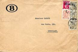 Belgique. T.  S30, S 36 (x 3) + TP 419  L.  Atelier Central De Cuesmes   Mons 2 > Bruxelles  1947 - Service