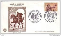 Enveloppe  Fdc De France, Journée Du Timbre 1963, Paris, Courrier Romain, Poste Gallo-romaine, Cheval - Journée Du Timbre