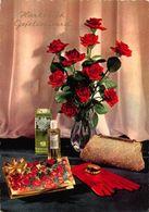 Hartelijk Gefeliciteerd Red Roses In Vase Flowers Le Galion Parfume Postcard - Gruss Aus.../ Grüsse Aus...