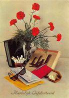 Hartelijk Gefeliciteerd Sunglasses Cigarettes Flowers In Vase Postcard - Gruss Aus.../ Grüsse Aus...
