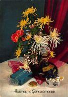 Hartelijk Gefeliciteerd Alcohol Bottle Cigarettes Flowers In Vase Postcard - Gruss Aus.../ Grüsse Aus...