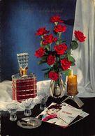 Hartelijk Gefeliciteerd Red Roses In Vase Alcohol Bottle Nico Fidenco Postcard - Gruss Aus.../ Grüsse Aus...