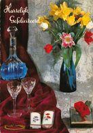 Hartelijk Gefeliciteerd Flowers In Vase Alcohol Bottle Postcard - Gruss Aus.../ Grüsse Aus...