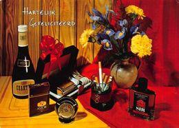 Hertilejk Gefeliciteerd Astor Alcohol Bottles Flowers In Vase Cigarettes Postcar - Gruss Aus.../ Grüsse Aus...