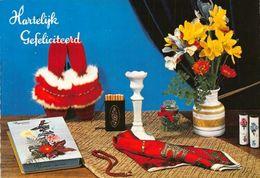 Hartelijk Gefeliciteerd Flowers In Vase Cigarettes Book Postcard - Gruss Aus.../ Grüsse Aus...