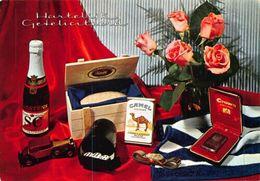 Hartelijk Gefeliciteerd Flowers In Vase Arstens Bottle Camel Cigars Postcard - Gruss Aus.../ Grüsse Aus...
