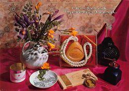 Hartelijk Gefeliciteerd Parfume Chocolate Vase On Table Postcard - Gruss Aus.../ Grüsse Aus...