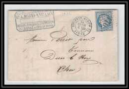 1118 Île-de-France Cérès N°60 T1 Gc 2170 Maison Blanche 2/3/1872 Pour Dun Le Roy Cher LAC Lettre Cover France - Marcophilie (Lettres)