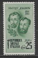 Italy ISR Scott # 32 MNH Bandiera Brothers,1944 - Nuovi