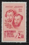 Italy ISR Scott # 34 MNH Bandiera Brothers,1944 - Nuovi