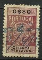 Portugal Fiscaux 1940  Y&T N°F(1) - Michel N°(?) (o) - 80csrevenu Blason - Fiscaux