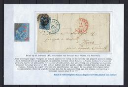 N°7 GESTEMPELD MET 4 MARGES OP BRIEF NAAR Wiers 1852 COB € 17,50 SUPERBE - 1851-1857 Médaillons (6/8)