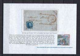 N°7 GESTEMPELD MET 4 MARGES OP BRIEF VANUIT Ieper 1854 COB € 17,50 SUPERBE - 1851-1857 Medaillons (6/8)