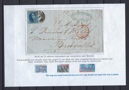 N°7 GESTEMPELD MET 4 MARGES OP BRIEF NAAR Bruxelles 1855 COB € 17,50 SUPERBE - 1851-1857 Medaillons (6/8)