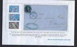 N°7 GESTEMPELD MET 4 MARGES OP OMSLAG NAAR Stavelot 1857 COB € 17,50 SUPERBE - 1851-1857 Médaillons (6/8)