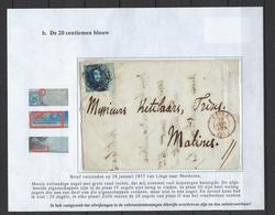 N°7 GESTEMPELD MET 4 MARGES OP BRIEF NAAR Malines 1857 COB € 17,50 SUPERBE - 1851-1857 Médaillons (6/8)