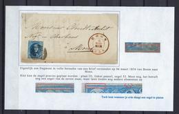 N°7 GESTEMPELD MET 4 MARGES OP BRIEF NAAR Mons 1856 COB € 17,50 SUPERBE - 1851-1857 Medallions (6/8)