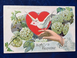 """valentine-pigeon Postman--Pigeon Facteur-Saint Valentin-""-gaufrée-embossed (my Ref V12) - Saint-Valentin"