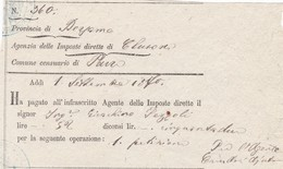 DOCUMENTO - PARRE -( BERGAMO) RICEVUTA - AGENZIE DELLE IMPOSTE DIRETTE DI CLUSONE , COMUNE CENSUARIO DI PARRE(BG) 1870 - Italia