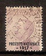 """(Fb).Regno.V.E.III.1908.-50c Violetto Soprastampato """"Prestito Nazionale 1917"""" Usato (702-16) - Gebraucht"""