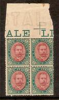 (Fb).Regno.Umberto I.1889.-5 Lire** In Quartina Nuova,bordo Di Foglio Con Croce E Filigrana Lettere,MNH (460-16) - 1878-00 Humbert I.