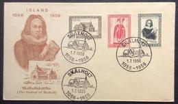 Is2 Island Skalholt Thorlacus Cathédrale Thorkelsson Reykjavik 1/7/1956 YT 258 259 260 Michel 300 301 302 Lettre - FDC
