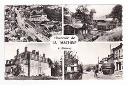 58 La Machine N°58524 En 1961 Wagons Mines Château Rue Avec BUS Car Autocar Ancien VOIR DOS - La Machine