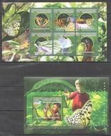 BC420 2010 GUINEE GUINEA BUTTERFLIES LES PAPILLONS 1KB+1BL MNH - Butterflies
