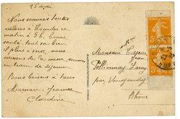 RRR PAIRE VERTICALE DE CARNET 5C SEMEUSE ORANGE N° 158 SUR CP RARE OBLIT LOURDES HAUTES PYRENEES 1923 RARE SUR DOCUMENT - Freimarke