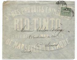 N°130 MARSEILLE 1904  LETTRE ENTETE STE DES PRODUITS CHIMIQUES RIO TINTO MARSEILLE L'ESTAQUE - Poststempel (Briefe)