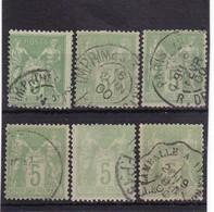 # Z.10902 France Republic 1898 - 1900 Type III. 6 X Value 5 C. Used, Yvert 102, Michel 84: Pax & Mercur - 1898-1900 Sage (Type III)