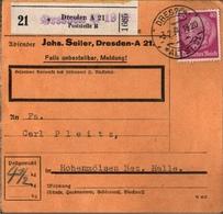 ! 1934 Paketkarte Deutsches Reich, Dresden, Überdruck,  Gel. Nach Hohenmölsen - Germany