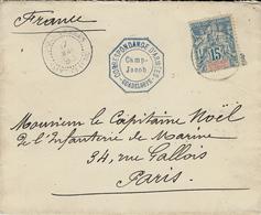 1893- Enveloppe Affr. 15 C. Oblit. COR.. D'ARMEES / SAINT-CLAUDE + CORRESPONDANCE D'ARMEES - GUADELOUPE / Camp JACOB - Guadeloupe (1884-1947)