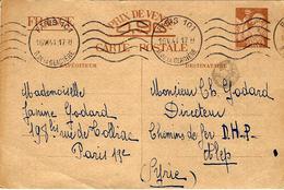 1941- C P E P Iris Sans Valeur ( Type Hourruez Lisible) De Paris Pour ALEP ( Syrie  ) - Marcophilie (Lettres)