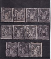 # Z.10903 France Republic 1898 - 1900 Type III. 11 X Value 10 C. Used, Yvert 103: Pax & Mercur - 1898-1900 Sage (Type III)