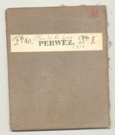 Carte De Géographie Toilée - PERWEZ  1874- Levée Et Nivelée 1865 (b271) - Carte Geographique