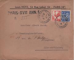 LETTRE RECOMMANDEE  PARIS 18 POUR FOUGERES  CACHET 1944 - France