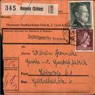 ! 1943 Paketkarte Deutsches Reich, Haynau In Schlesien N. Leipzig - Briefe U. Dokumente