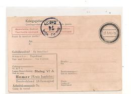 1941 PRISONNIERS DE GUERRE CARTE POSTALE DE STALAG VI A CAMP DE HEMER - Marcophilie (Lettres)