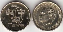 SVEZIA 10 Kronor 1991 KM#877 - Used - Svezia