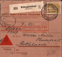 ! 1934 Nachnahme Paketkarte Deutsches Reich, Klingenthal In Sachsen, Rottleberode - Briefe U. Dokumente