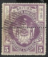 BRITISH NORTH BORNEO 1889 --  5$ LILA --USED - Borneo Del Nord (...-1963)