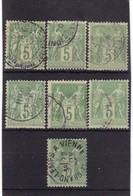 # Z.10907 France Republic 1898 Type II. 7 X Value 5 C. Used, Yvert 106, Michel 84 II: Pax & Mercur - 1876-1898 Sage (Type II)