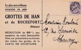 Préo N° 43 Type Blanc S / CP Pub Visitez Les Grotttes De Han Et De Rochefort - 1921-1960: Période Moderne