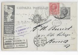 1920 - ITALIE - CP ENTIER PUBLICITAIRE ILLUSTREE LLOYD De GENOVA => ROMA - 1900-44 Vittorio Emanuele III