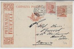 1924 - ITALIE - CP ENTIER PUBLICITAIRE ILLUSTREE PNEUS PIRELLI De GENOVA => MOULINS - 1900-44 Vittorio Emanuele III
