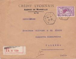N° 240 S / Env Recommandée T.P Perforé CL. Ob Cad Marseille 13 3 30 Pour Palerme Italie - Marcophilie (Lettres)