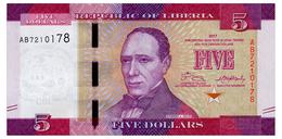 LIBERIA 5 DOLLARS 2017 Pick 31b Unc - Liberia