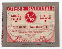 - BILLET DE LOTERIE NATIONALE 1938 - 5me TRANCHE - Le Nouvelliste De Lyon - - Loterijbiljetten