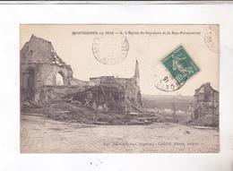 CPA DPT 80 GUERRE 14/18, MONTDIDIER En 1919! L EGLISE ST SEPULCRE ET LA RUE PARMENTIER - Montdidier